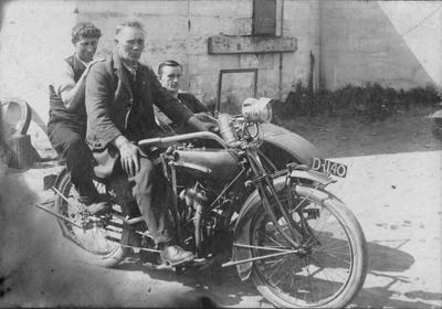 Men on Motorcycle and Side Car, c.1935
