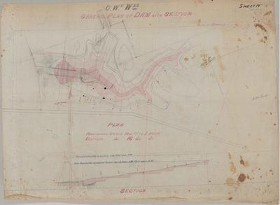 Oamaru Waterworks General Plan of Dam with Section. Sheet number 7 [Landon Contract].