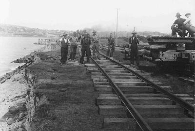 Railway workers near foreshore and gasworks, Oamaru Harbour