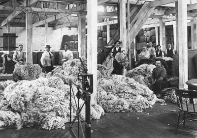 Wool sorting and pressing - Tyne Street (?), c. 1930s.