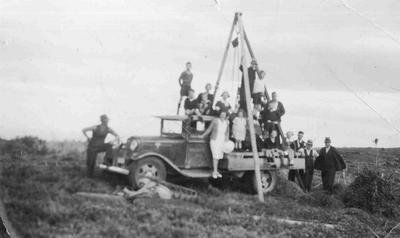 Collecting stone for marking of 45th parallel (taken from Herbert) J Rodman's farm, Herbert