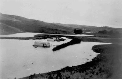Flooding at Airedale, 1942, Jardine Property. Devil's Bridge.