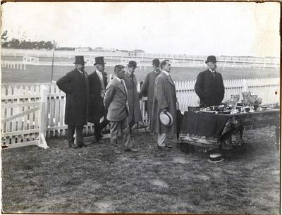 Frank Milner with Lord Islington, Governor of New Zealand. Waitaki Boys' High School sports
