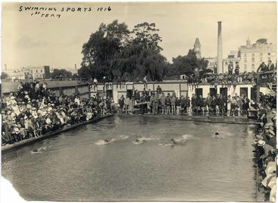 Public Swimming baths, Oamaru. Waitaki Boys' High School swimming sports