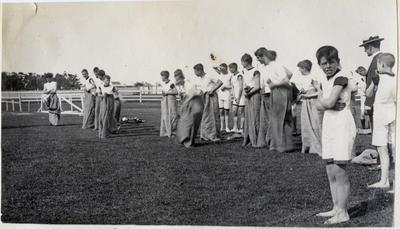 Sack race, Waitaki Boys' High School; P0109.063.2