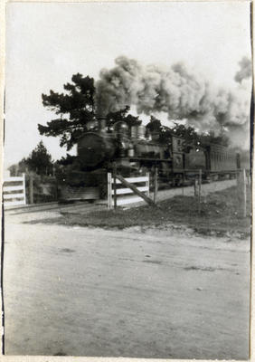Train at the crossing. Waitaki Boys' High School