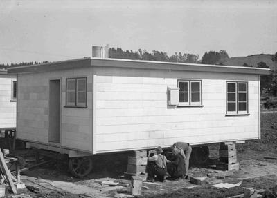 First pre-fabricated home built by Maynard and Armstrong Builders