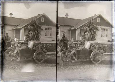 Unidentified men with motorcycle and side car. 34 Caledonian Road Oamaru