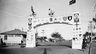 King George VI Coronation decorations. Thames Highway arch