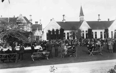 Garden Party outside Main building, Waitaki Boys' High School