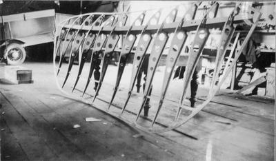 Wing sections of Flying Flea during construction in W L Notman's Workshop, c. 1936.