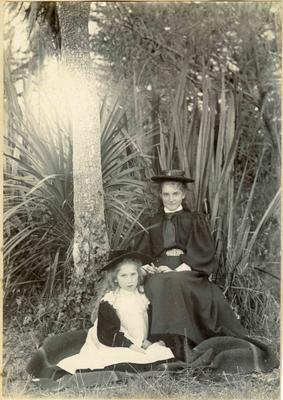 Two girls in garden