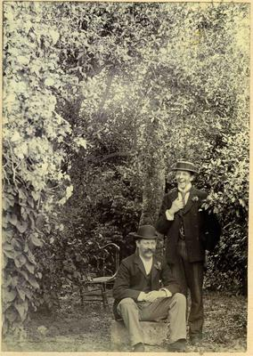 Two men in a garden