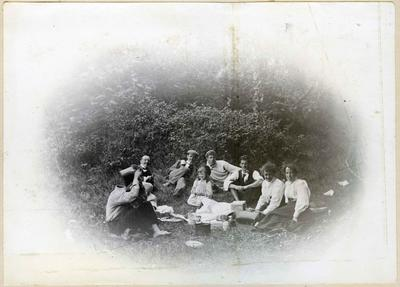 People picnicking in the bush