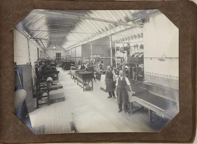 Workroom at woollen mill