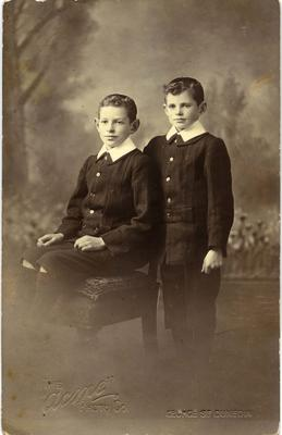 Photo post card studio portrait two young boys