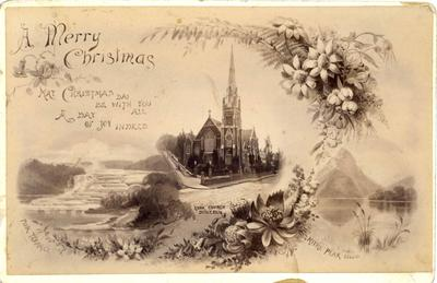 Post card showing Knox Church, Dunedin and Mitre Peak and the Pink Terrace.