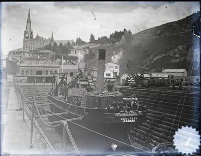 "Oamaru dredge ""Progress"" in dry dock, Port Chalmers."