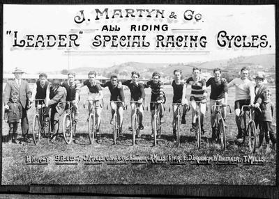 "J Martyn & Co. ""Leader"" Special Racing Cycles. Oamaru Showgrounds, c. 1920s."