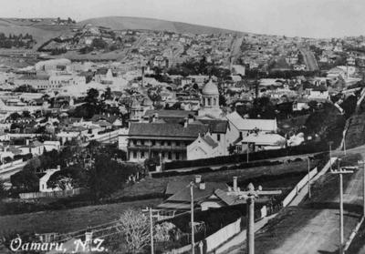 """Oamaru N.Z."" Oamaru looking south east from Aln Street."