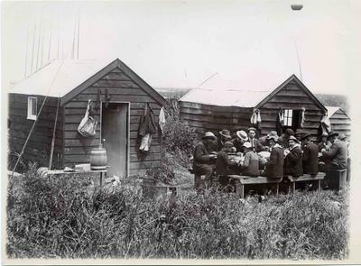 Fishermans camp, Waitaki river mouth; 3654P