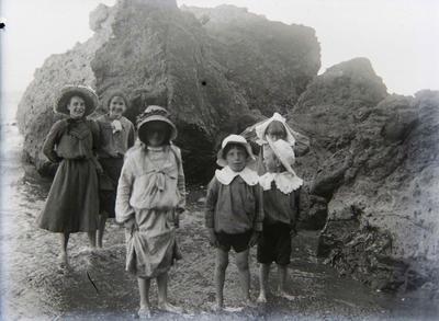 Women and children at beach