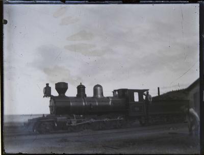 Train near engine shed, c.1900.