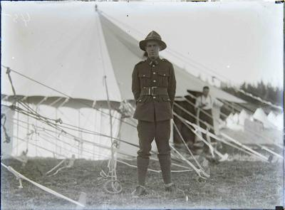 Unidentified volunteer at encampment