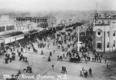 Thames Street, Oamaru, N.Z. looking south from Severn Street corner.
