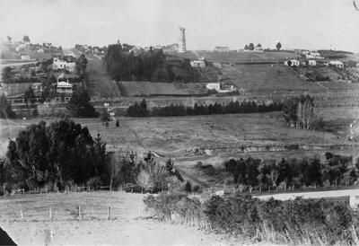View from Yare Street, Oamaru, showing Hassell's windmill