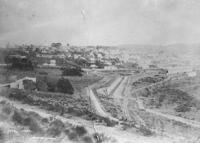 Elevated view of Oamaru, showing foreshore area looking north,