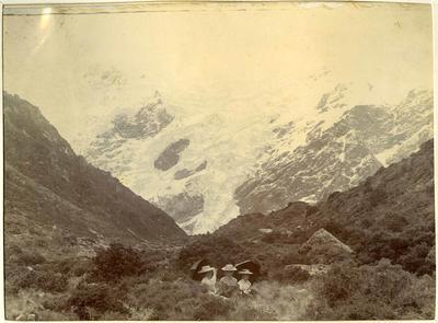 Unidentified women, mountain scene