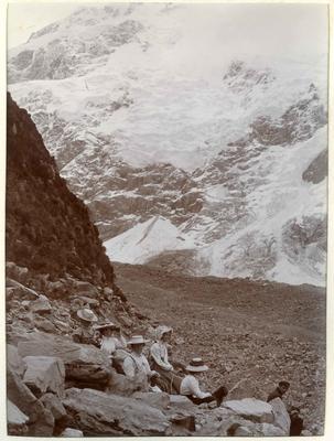 Unidentified people, mountain scene