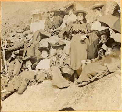 Unidentified men and women at a picnic; 2014/45.01.007