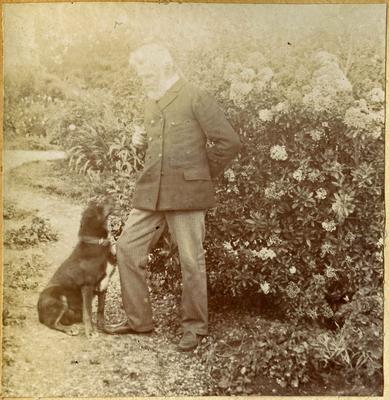 Frederick Bicknell with dog. Surrey Lodge, Avon Street Oamaru; 2014/45.01.013