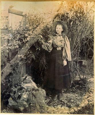 Unidentified girl in a garden