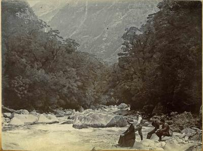 People at a river, location unidentified; 2014/45.01.076