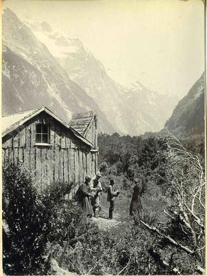 Men and women at mountain hut