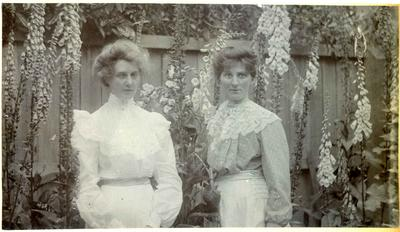 Unidentified women in a garden