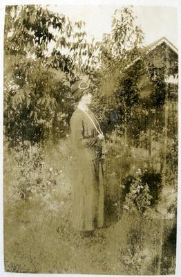 Unidentified woman in a garden
