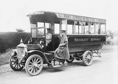 Miss W Mitchell. Searle's Motors bus, Oamaru.