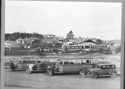 Whitaker's Motor Service Buses with Drivers, c. 1926 - 1927.