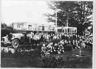 First day of opening of Waitaki Boys' Junior High School. Giffin's Motor Service buses.