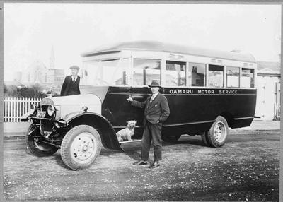 Oamaru Motor Service 1934. 20 seater Thornycroft 4 cylinder bus.