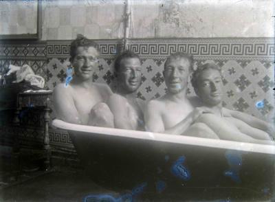 Unidentified men in a bath