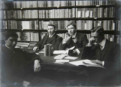 Unidentified men in library