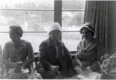 Three women seated at an afternoon function.
