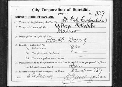 Motor Registration Form for Allan Clark, Maheno, 5 December 1908.