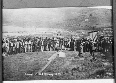 Turning first sod of the Waitaki-Moeraki railway