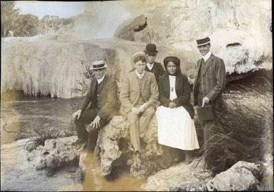 Men and woman at Whakarewarewa, Rotorua; 2014/43.1.12